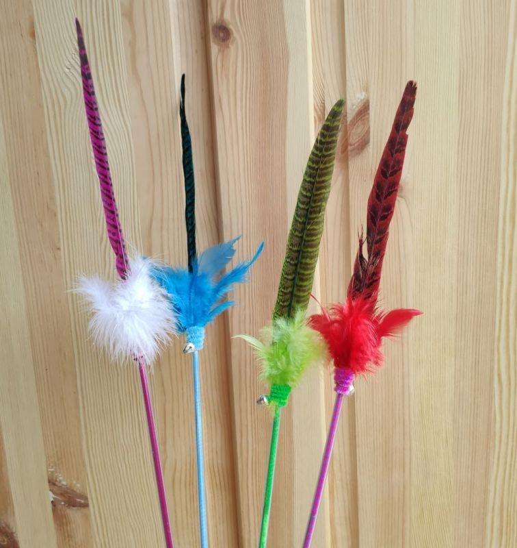 škádlítko pro kočky barevný bažant teaser color pheasant
